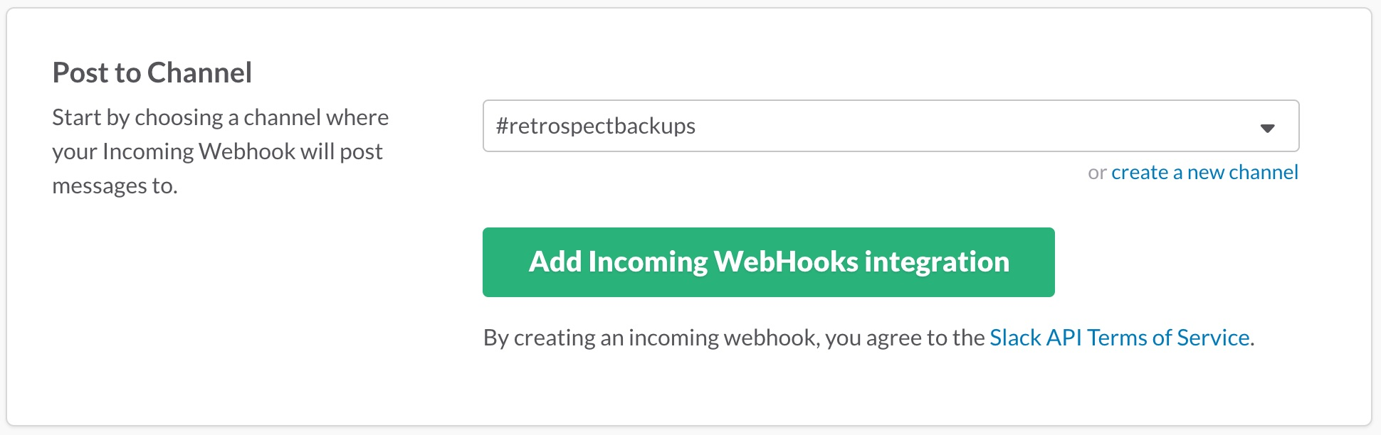 Add Incoming WebHooks integration for Retrospect